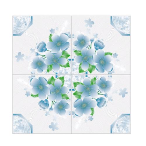 Sosuco 12x12 กระเบื้องปูพื้นหน้าเงา-ดอกเวียงใต้ A.  สีฟ้า