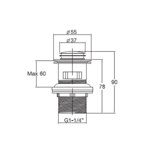 ENGLEFIELED สะดืออ่างล้างหน้าแบบกดสำหรับสะดือบ่าเล็ก  K-11683X-CP (มีรูน้ำล้น) สีขาว