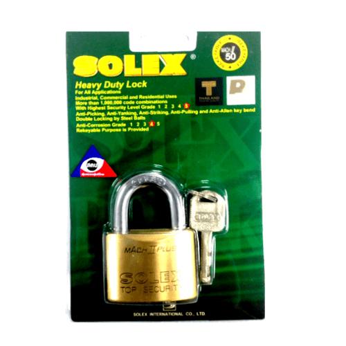 SOLEX กุญแจคล้อง ขนาด  50 มม. MACH II 50 MM  สีทอง