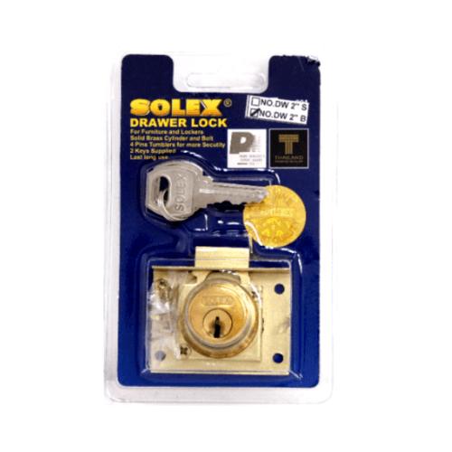 SOLEX กุญแจลิ้นชักขนาด 2 นิ้ว DW2 สีทอง