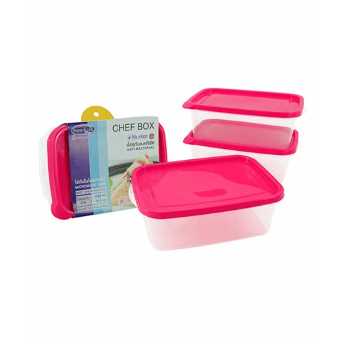 SUPER LOCK กล่องเชฟบ็อค ขนาดบรรจุ 1005 ml. (3ชิ้น/แพ็ค) 6073 คละสี