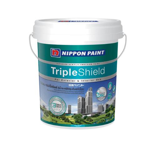 NIPPON สีน้ำทาภายนอก เหลือบเงา เบส A ถัง Triple Shield ขาว