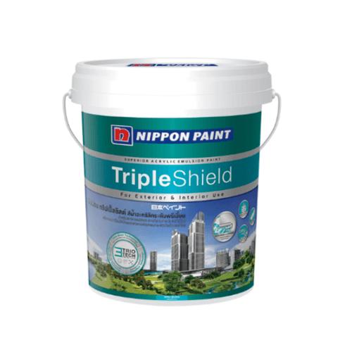 NIPPON สีน้ำทาภายนอก กึ่งเงา เบส B triple Shield Sheen ขาว