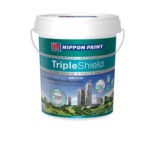 NIPPON สีน้ำทาภายนอก  เหลือบเงา เบส D Triple Shield  ขาว