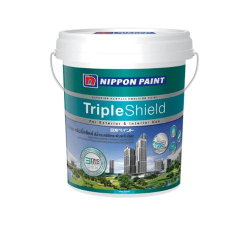 NIPPON สีน้ำทาภายนอก  กึ่งเงา เบส A กล Triple Shield ขาว