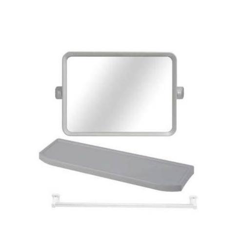 กระจกชุด3ชิ้นแบบเหลี่ยม EMS01 ขาว