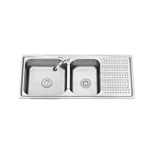 TECNOGAS อ่างล้างจาน 2 หลุม 1ที่พัก Sink TNS 211200 SS สเตนเลส
