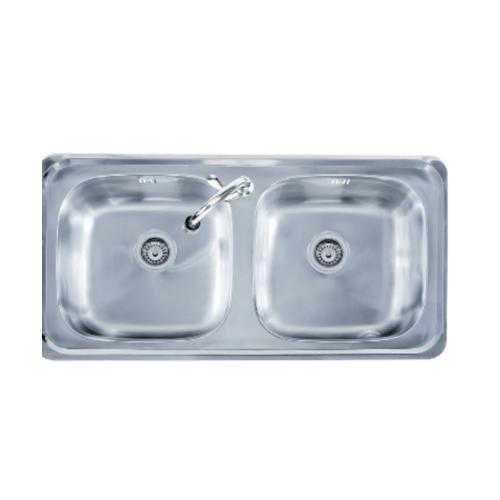 TECNOGAS อ่างล้างจาน 2 หลุม Sink TNP D 100 สเตนเลส