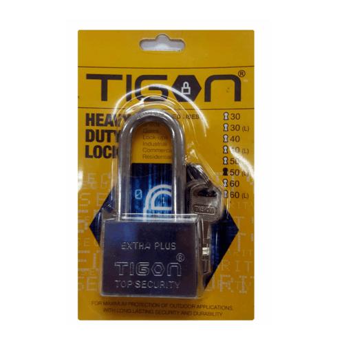 TIGON กุญแจชุบเงิน ขนาด 60 มม.คอยาว -
