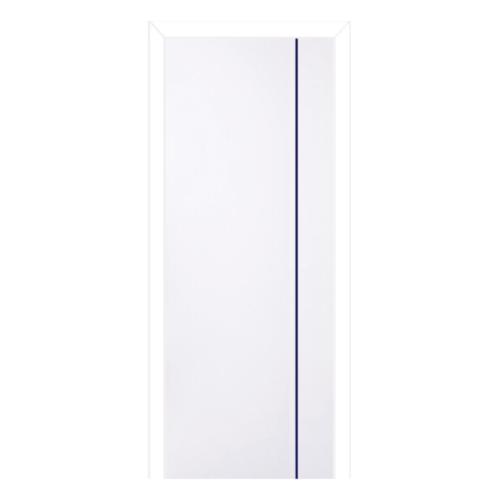 BWOOD  ประตูพีวีซี บานทึบเซาะร่องเส้นน้ำเงินพร้อมวงกบ  70x180ซม.  (เจาะ) Navy-Series BN1 สีขาว