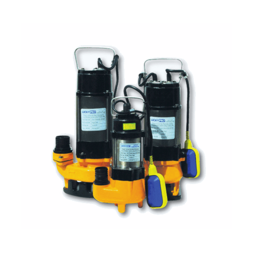 LUCKYPRO ปั๊มจุ่มน้ำเสีย ขนาด 180 วัตต์ 220 โวล์ท +ลูกลอย LP-V180F สีเหลือง