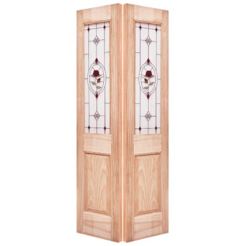 WINDOOR ประตู+กระจก สนNz 40x200 MJ-03 SL  สีเหลือง