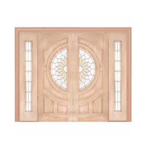 WINDOOR ประตู+กระจก  สนNz  ขนาด 90x200 cm. SUN FLOWER Com7
