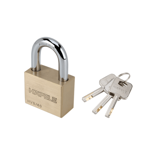 HAFELE  กุญแจล็อค สายยู ขนาด 40 มม.  482.01.980 ทองเหลือง