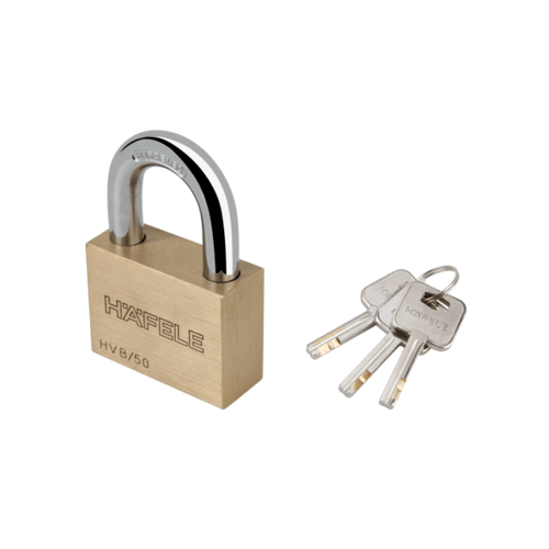 HAFELE  กุญแจล็อค สายยู ขนาด 50 มม.  482.01.984 ทองเหลือง