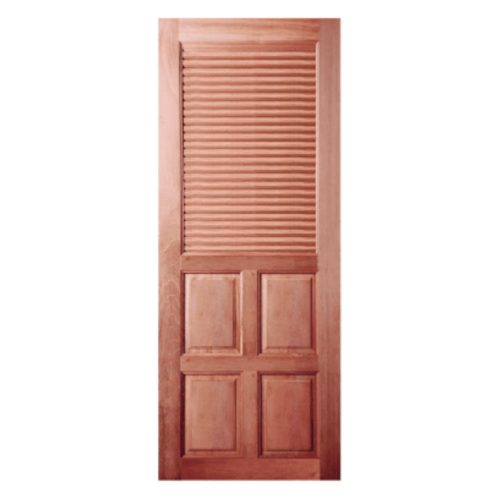 BEST  ประตูไม้สน 4ฟักพร้อมเกล็ดระบายอากาศ ขนาด 70x200ซม. GS-25
