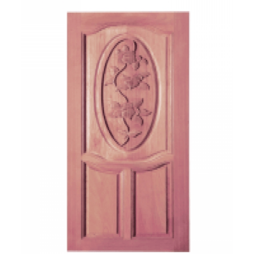BEST ประตูไม้สยาแดงบานทึบลูกฟักแกะลาย 80x200cm. ทำสีโอ๊ค  GC-54