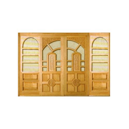BEST ประตูไม้สยาแดง ลูกฟักแกะลายพร้อมกระจก (SET) 250x208ซม. S-002