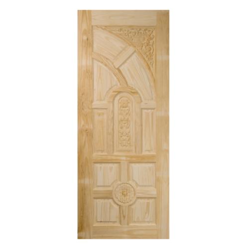BEST ประตูไม้สน ลูกฟักแกะลาย 100x200ซม. GC-01