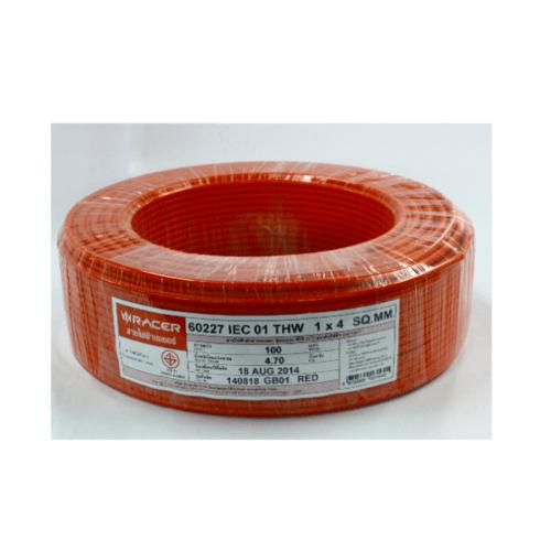 RACER สายไฟ IEC01 THW 1x4 100M.แดง 13201CA01310038 แดง