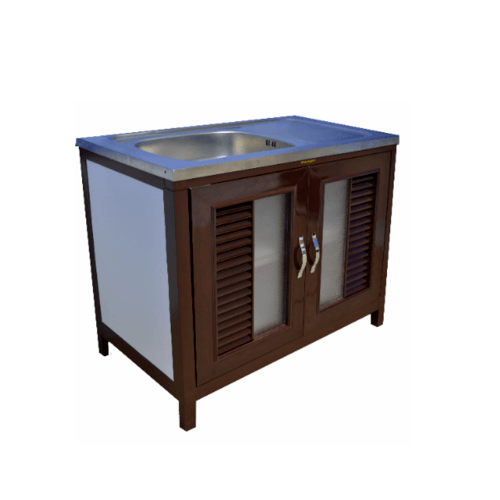 WT ตู้พร้อมซิงค์ล้างจานสเตนเลส 1 หลุมมีที่พัก ขนาด 89x51x80 ซม.  RZ-901