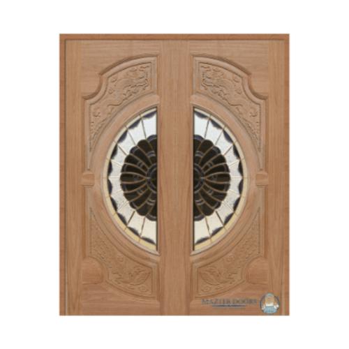 MAZTERDOOR ประตูกระจกสยาแดง(หงษ์+มังกร) 90X220 cm.  VANDA-09