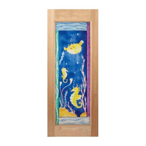 MAZTERDOOR ประตูไม้สยาแดง กระจกเต็มบาน ลายม้าน้ำ 80x200ซม.  MASTER-010