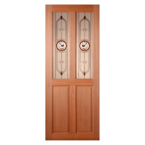 MAZTERDOOR ประตูไม้เนื้อแข็ง ลูกฟักพร้อมกระจก ขนาด 80x180ซม.  SS02/1