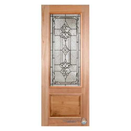 MAZTERDOOR  ประตูไม้สยาแดง ลูกฟักพร้อมกระจก ขนาด 80x220ซม. LOTUS-10