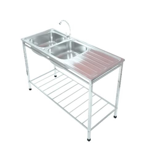 TECNOGAS อ่างล้างจานแบบมีขาตั้ง 2 หลุม 1 ที่พัก Sink TNS TT12050 สเตนเลส