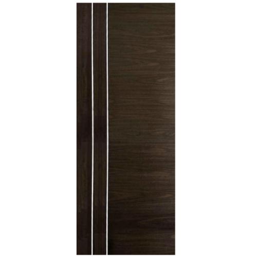 ECODOOR ประตูยูพีวีซีเซาะร่องลายไม้  80x200cm. สีโอ๊ค ไม่เจาะ 2AO