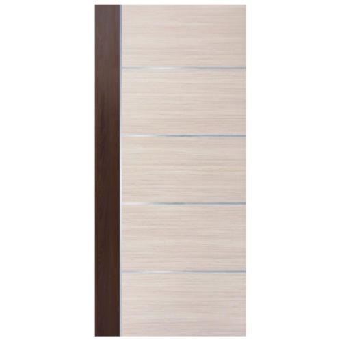 ECODOOR ประตู ปิดผิวลามิเนต  ขนาด 90x200 cm. สีครีม-โอ๊ค ไม่เจาะ    HPL 5i