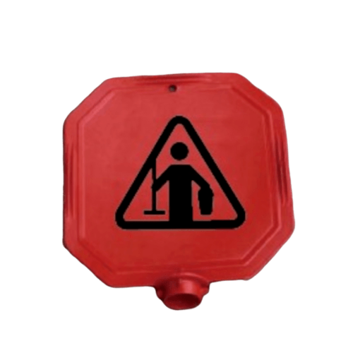 Protx ป้ายเตือนหัวเสา ห้ามเข้า กำลังปฎิบัติงาน  PQS-RS77x  สีแดง