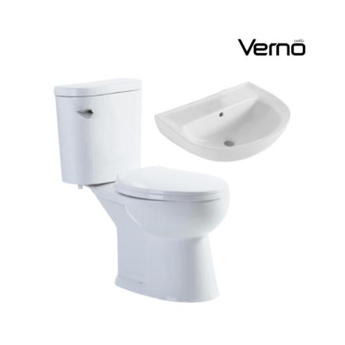 VERNO  สุขภัณฑ์สองชิ้นแบบกดหน้า +อ่างล้างหน้าแบบแขวน  จีโอ VN-629+ ฮาน่า VN-A105