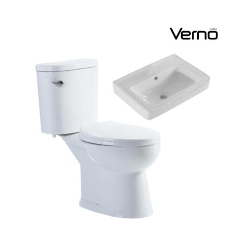 VERNO  สุขภัณฑ์สองชิ้นแบบกดหน้า +อ่างล้างหน้าแบบแขวน จีโอ VN-629+ เกียวโต VN-3317
