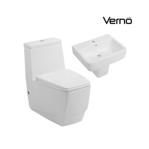 VERNO  สุขภัณฑ์ชิ้นเดียวแบบกดบน +อ่างล้างหน้าแบบแขวนพร้อมขาตั้งลอย   ธอร์ VN-3312+ปารีส VN-937