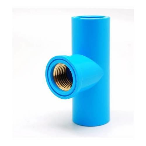 VAVO สามทางเกลียวในทองเหลือง  ขนาด 1/2นิ้ว (18)  สีฟ้า