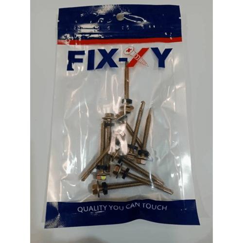 FIX-XY สกรูยึดกระเบื้องลอนลูกฟูก ปลายสว่าน ขนาด#10 ยาว 49.5 มม. (2)(25pcs/bag) -