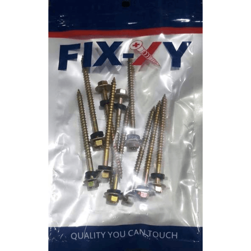 FIX-XY สกรูยึดกระเบื้องลอนคู่ ปลายแหลม ขนาด#10 ยาว 75 มม. (3)(25pcs/bag) -