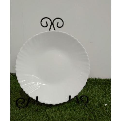 ADAMAS จานโอปอลขอบริ้ว 8.5 cm HBTP85-H0 สีขาว