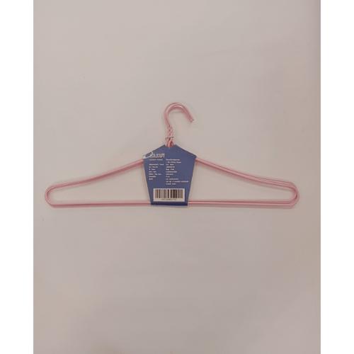 SAKU ไม้แขวนเสื้อลวดหุ้มพลาสติกใหญ่พิเศษ JMXS003-PK  แพ็ค 3 ชิ้น สีชมพู