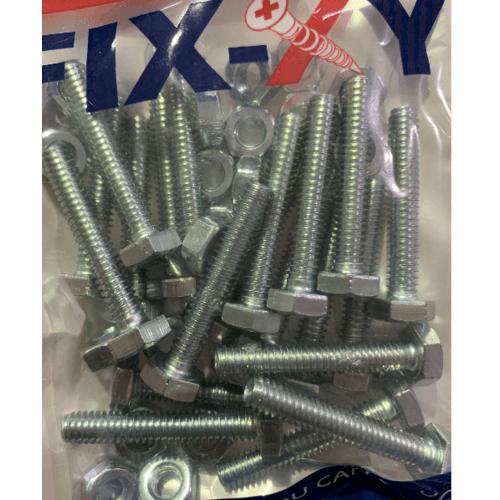 FIX-XY สกรูเกลียวมิล 1/4x1.1/2  (20ชิ้น/แพ็ค)  EF-013 สีโครเมี่ยม