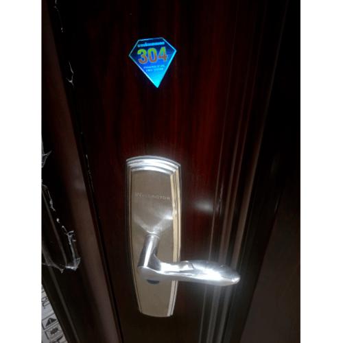 Wellingtan ประตูเหล็กนิรภัย ขนาด 96x200 ซม. เปิดขวา เปิดออก พร้อมวงกบ บานพับ และระบบล็อค Hkai-C2R-out