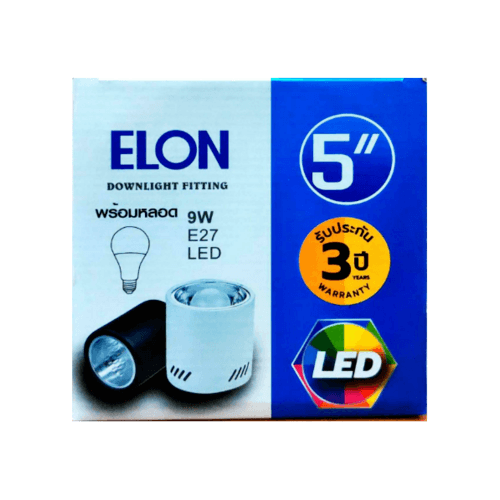 EILON ดาวน์ไลท์แอลอีดีทาวเวอร์พร้อมหลอด  5Y5001-9W E27  สีดำ