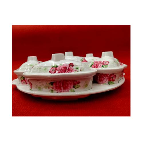 ADAMAS ชุดจานเมลามีนโรส ลายดอกไม้สีขาวแดง 6207 สีขาว
