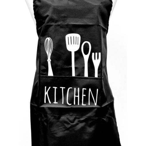 KATELL ผ้ากันเปื้อนแบบกันน้ำ ลาย Kitchen XFX043 สีดำ