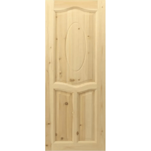 GREAT WOOD ประตูไม้สน บานทึบ 3ฟักโค้ง ขนาด 200x80cm. PN-4  สีน้ำตาลอ่อน