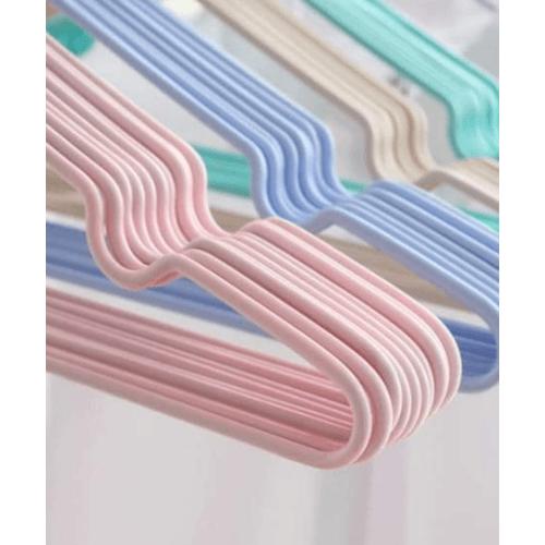 SAKU ไม้แขวนเสื้อลวดหุ้มพลาสติก  แพ็ค 10 ชิ้น  JMZM007-PK  สีชมพู