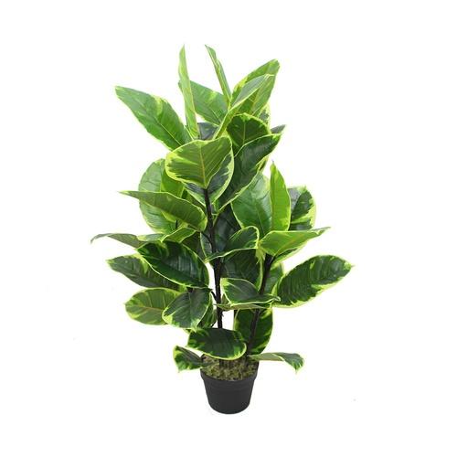 Tree O ต้นยางอินเดียด่างประดิษฐ์ สูง90ซม. 44LVS พร้อมกระถาง  JWS2957 สีเขียว