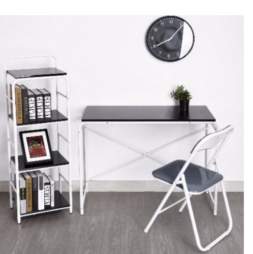 SMITH ชุดโต๊ะทำงาน MIRREN สีเทาประกอบด้วยโต๊ะ 1 ตัว เก้าอี้ 1 ตัว ชั้นวางของ 1 ตัว MIRREN